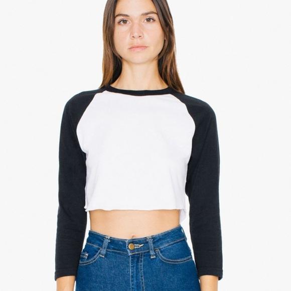 Raglan Crop Top Cropped Top Crop Tshirt Long Sleeve White and Blue Baseball Crop Top Crop Tee Crop Tops For Women Cropped Baseball Tee